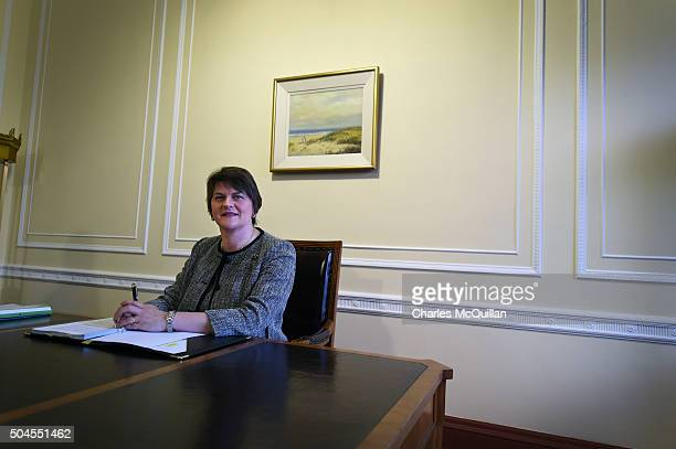 Arlene Foster takes her seat in the First Ministers office after becoming the new First Minister on January 11 2016 in Belfast Northern Ireland...