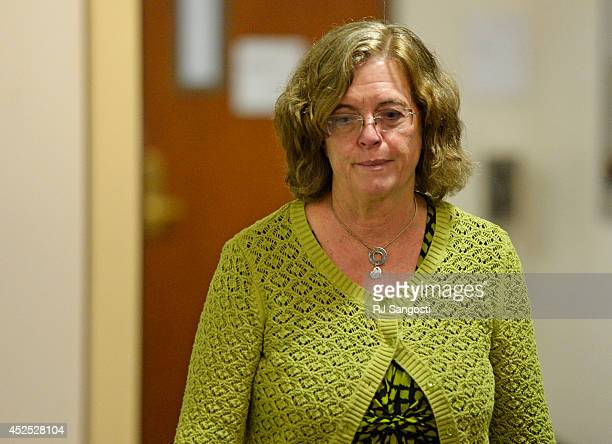 Arlene Holmes mother of Aurora theater shooting suspect James Holmes walks back into court at the Arapahoe County Justice Center for a hearing in the...