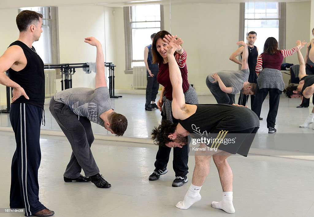 Arlene Phillips (3rd L) choreographs and leads rehearsals of a dance routine to be performed at the Olivier Awards 2013, at The Old Finsbury Town Hall on April 25, 2013 in London, United Kingdom. The Olivier Awards 2013 with MasterCard are due to be held at the Royal Opera House on Sunday 28 April.