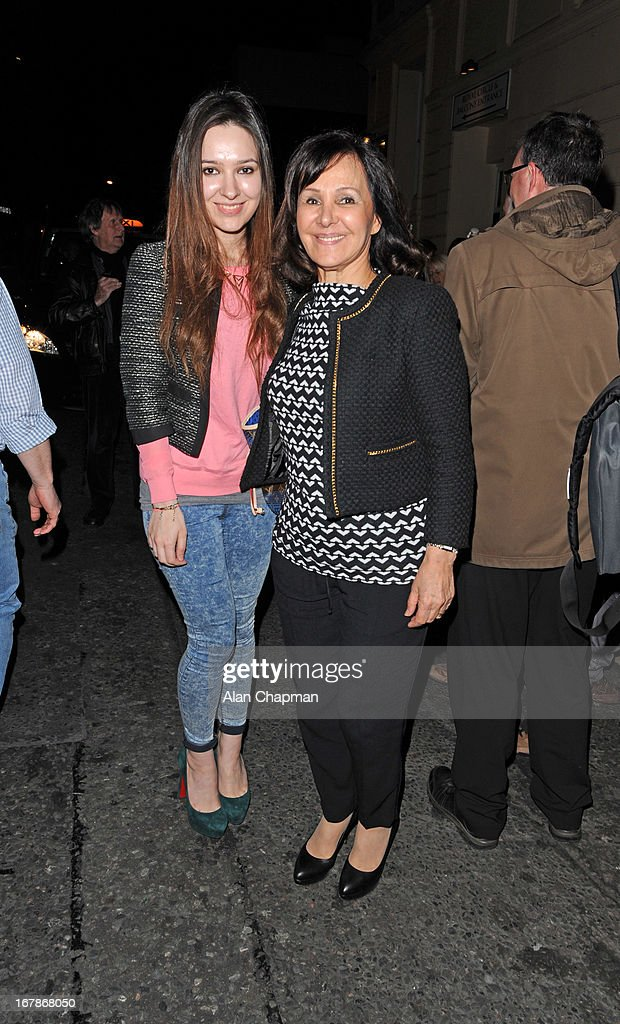 Arlene Phillips (R) sighting leaving the Harold Pinter Theatre on May 1, 2013 in London, England.