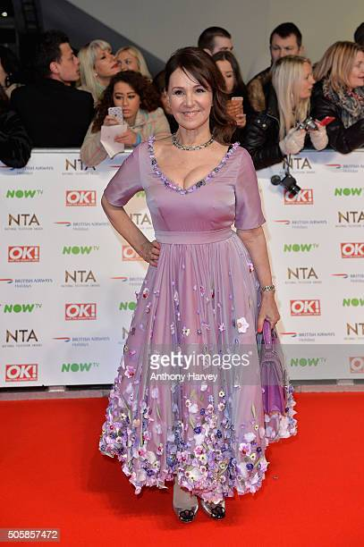 Arlene Phillips wearing a dress created from homeopathic remedies attends the 21st National Television Awards at The O2 Arena on January 20 2016 in...
