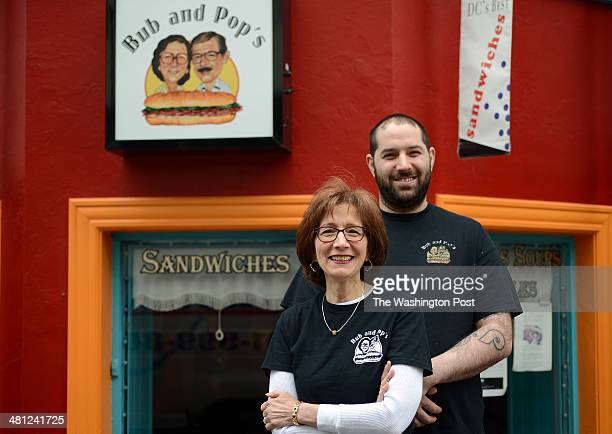 Arlene Wagner and her son Jonathan Taub pose for a portrait photograph in front of their restaurant Bub and Pop's named for Arlene Wagner's parents...