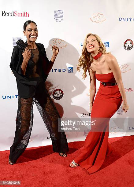 Arlenis Sosa and Petra Nemcova attend the 2016 Happy Hearts Fund Gala at Hammerstein Ballroom on June 16 2016 in New York City