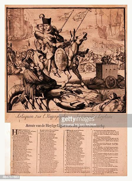 Arlequin Sur L'hippogryphe A La Croisade Lojoliste Armee Van Den Heylige Lingue Voor Der Jesuiten Monarchy Hooghe Romeyn De 16451708 Artist [1689] 1...