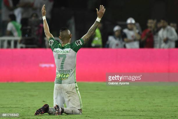 Arley Rodriguez of Nacional celebrates after winning a match between Atletico Nacional and Chapecoense as part of CONMEBOL Recopa Sudamericana 2017...