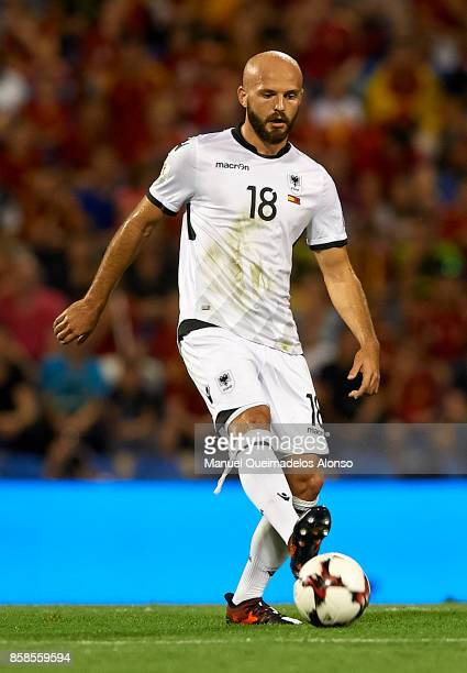 Arlind Ajeti of Albania controls the ball during the FIFA 2018 World Cup Qualifier between Spain and Albania at Rico Perez Stadium on October 6 2017...