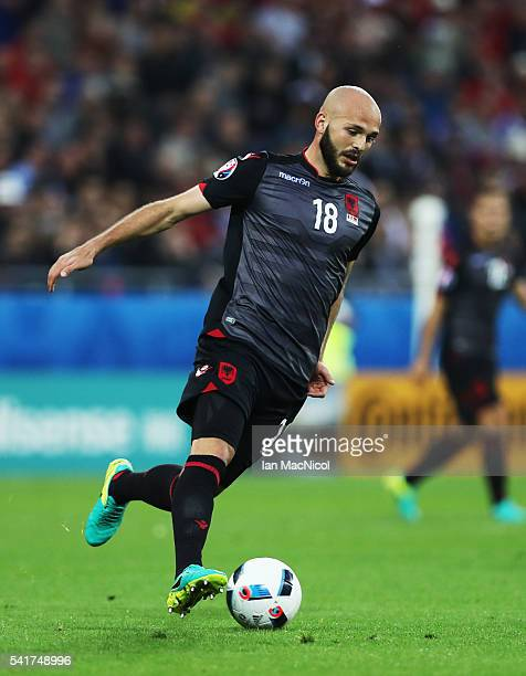 Arlind Ajeti of Albania controls the ball during the UEFA EURO 2016 Group A match between Romania and Albania at Stade des Lumieres on June 19 2016...