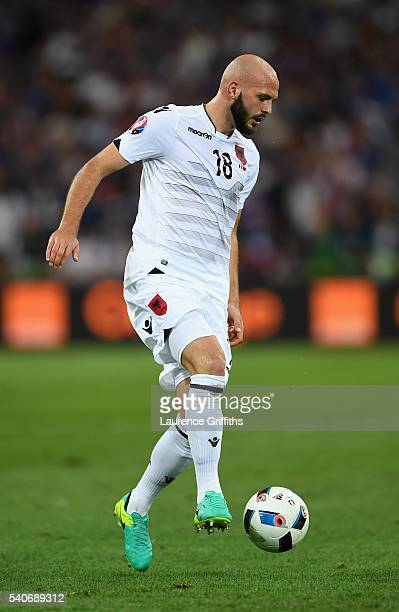 Arlind Ajeti of Albania in action during the UEFA Euro 2016 Group A match between France and Albania at Stade Velodrome on June 15 2016 in Marseille...