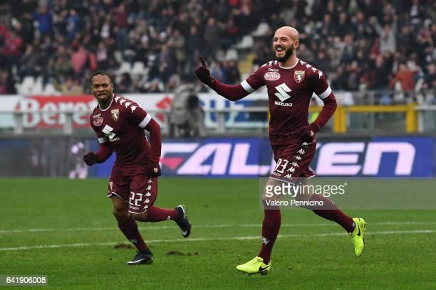 Arlind Ajeti of FC Torino celebrates a goal during the Serie A match between FC Torino and Pescara Calcio at Stadio Olimpico di Torino on February 12...