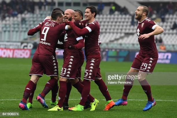Arlind Ajeti of FC Torino celebrates a goal with team mates during the Serie A match between FC Torino and Pescara Calcio at Stadio Olimpico di...