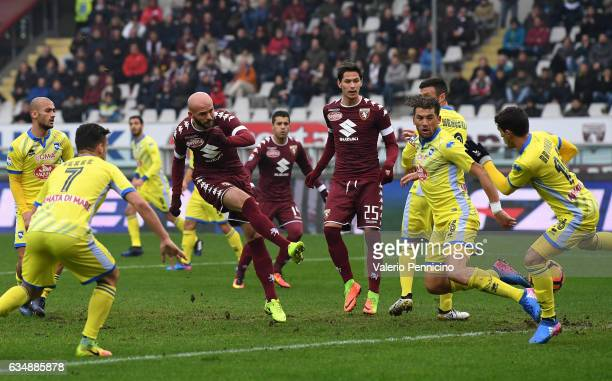Arlind Ajeti of FC Torino scores a goal during the Serie A match between FC Torino and Pescara Calcio at Stadio Olimpico di Torino on February 12...