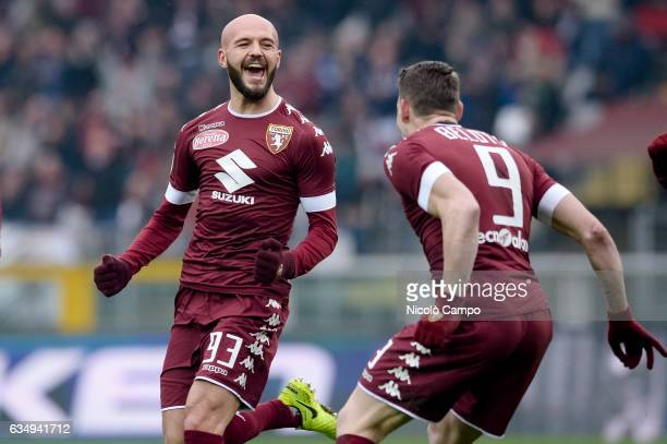 Arlind Ajeti of Torino FC celebrates after scoring a goal during the Serie A football match between Torino FC and Pescara Calcio Torino FC wins 53...