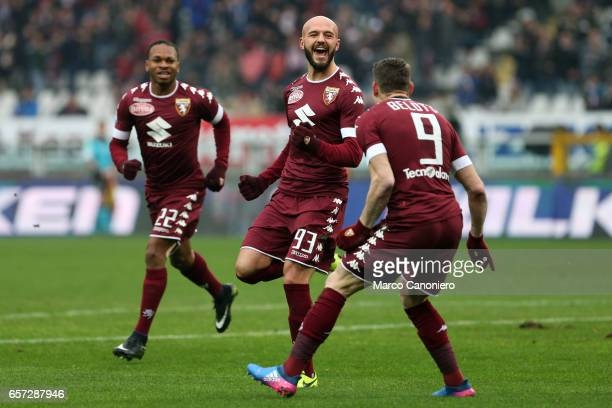 Arlind Ajeti of Torino FC celebrates with his team mates after scoring a goal during the Serie A football match between Torino FC and Pescara at...