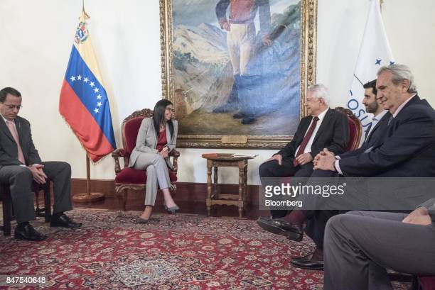 Arlindo Chinaglia a Brazilian lawmaker and head of Parlasur center right speaks with Delcy Rodriguez president of the Constituent Assembly center...