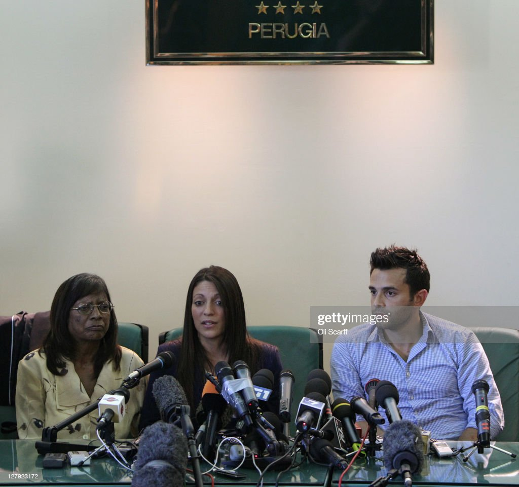 Arline Kercher, the mother of murdered student Meredith Kercher, sister Stephanie Kercher and her brother Lyle Kercher hold a press conference prior to the verdict in the appeal of Amanda Knox and Raffaele Sollecito's murder convictions on October 3, 2011 in Perugia, Italy. American student Amanda Knox and her Italian ex-boyfriend Raffaele Sollecito were convicted in 2009 of killing their British roommate Meredith Kercher in Perugia, Italy in 2007. The jury in their appeal is expected to retire to consider their verdict later today. They have served nearly four years in jail after being sentenced to 26 and 25 years respectively.