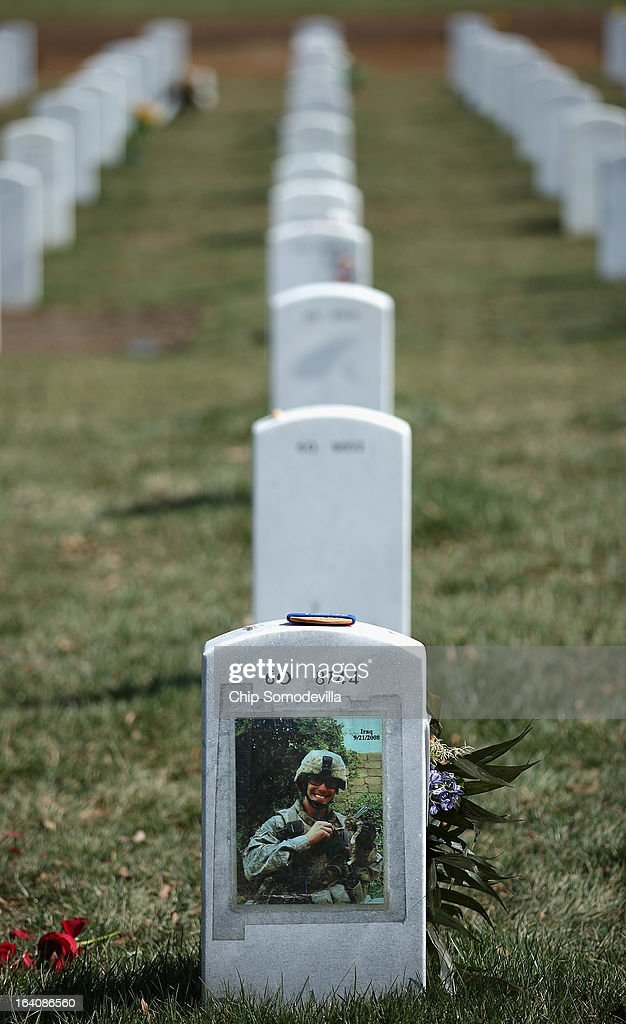 Arlington National Cemetary's Section 60 is where most of the casualties from the Iraq and Afghanistan wars are buried March 19, 2013 in Arlington, Virginia. The bombing of Baghdad by U.S. and coalition forces began 10 years ago today.