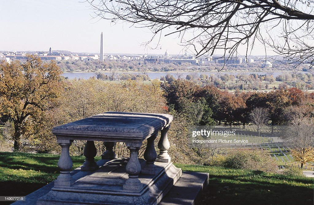 Arlington National Cemetery with Washington DC in the background