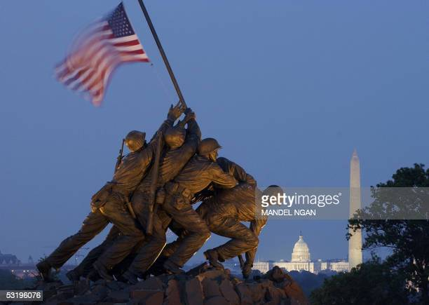 A 04 July 2005 photo shows the US Marine Corps War Memorial commonly known as the Iwo Jima Memorial in Arlington Virgina The memorial honors all...