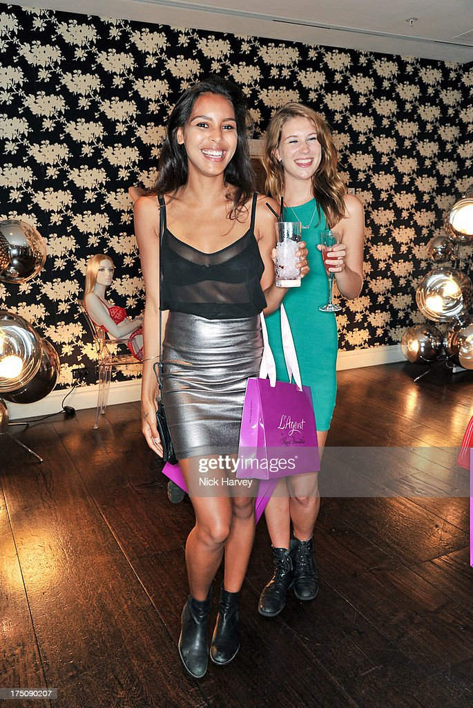 <a gi-track='captionPersonalityLinkClicked' href=/galleries/search?phrase=Arlissa&family=editorial&specificpeople=10285113 ng-click='$event.stopPropagation()'>Arlissa</a> and Elizabeth Jamieson attend the launch of 'L'Agent' Campaign film by Agent Provocateur and directed by Penelope Cruz at Soho Hotel on July 31, 2013 in London, England.