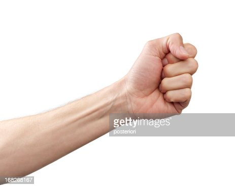 Arm and fist against white background