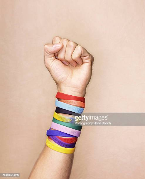 Arm with rubber wrist bands