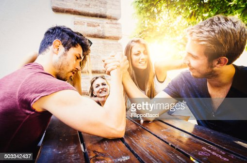 Arm Wrestling Between Two Beautiful Young Men