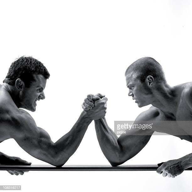 arm wrestling muscular build men
