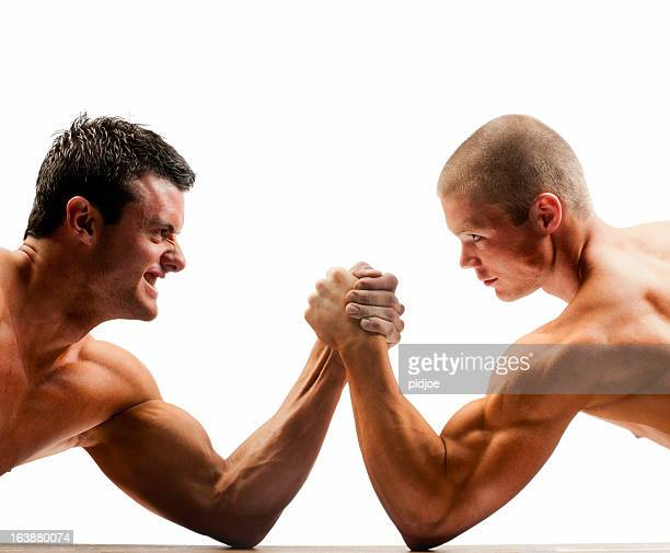 arm wrestling muscular build men