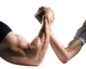 Arm wrestle betwen big muscly man and a small weak man