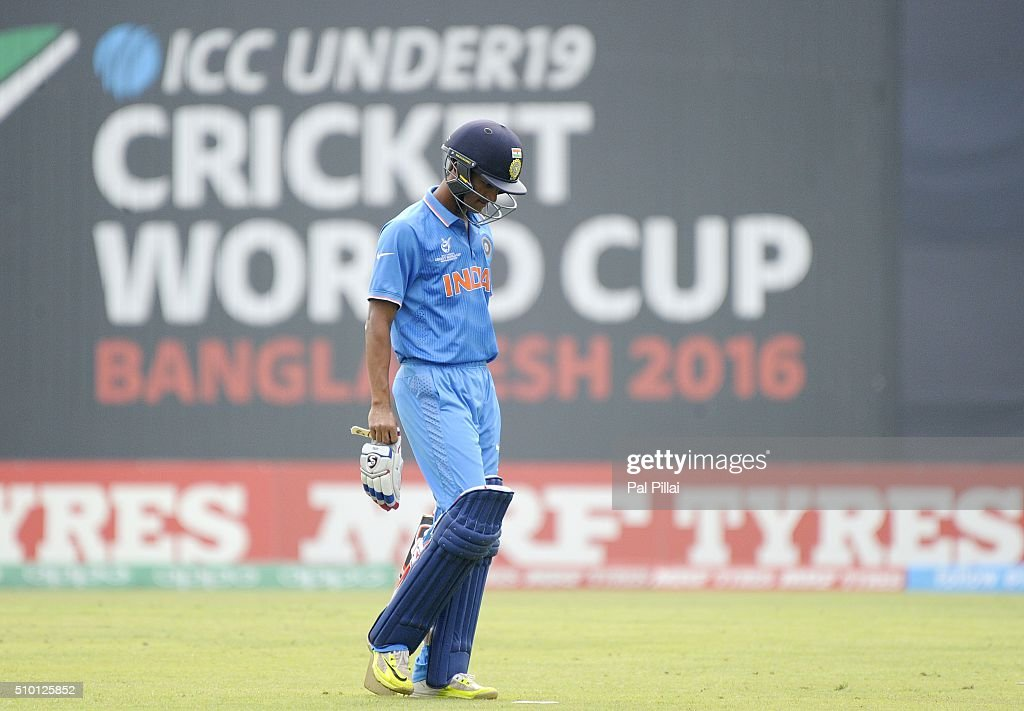 Armaan Jaffer of India walks back after getting out during the ICC U19 World Cup Final Match between India and West Indies on February 14, 2016 in Dhaka, Bangladesh.