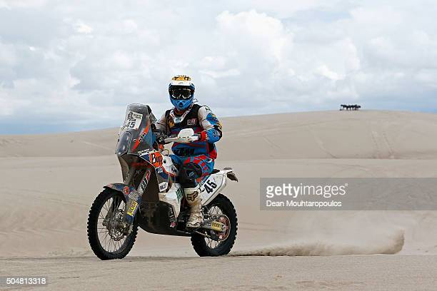 Armand Monleon of Spain riding on and for KTM 450 RALLY REPLICA KTM WARSAW RALLY TEAM competes on day 11 stage ten between Belen and La Rioja during...