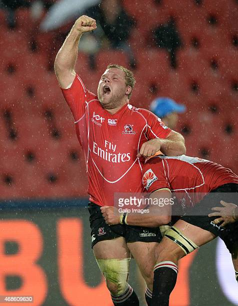 Armand van der Merwe of the Lions cerebrates his winning try during the Super Rugby match between Emirates Lions and Vodacom Bulls at Emirates...