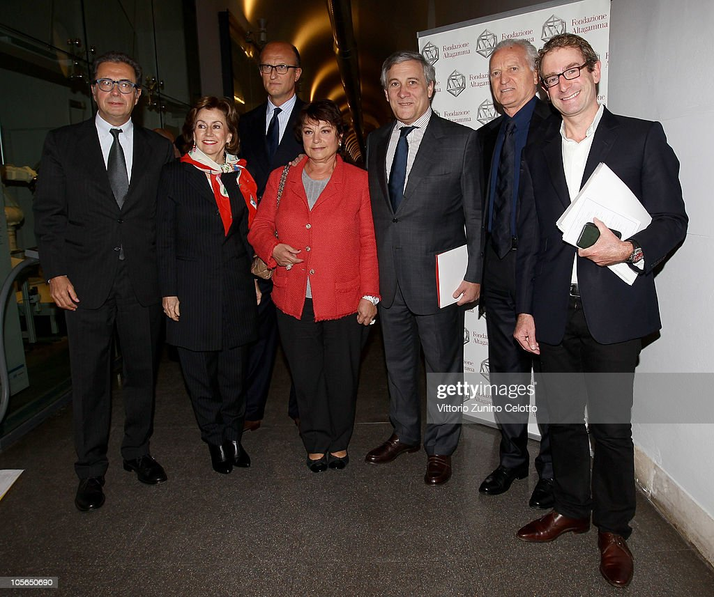 Armando Branchini, Paolo Zegna, <a gi-track='captionPersonalityLinkClicked' href=/galleries/search?phrase=Francoise+Montenay&family=editorial&specificpeople=3062233 ng-click='$event.stopPropagation()'>Francoise Montenay</a>, <a gi-track='captionPersonalityLinkClicked' href=/galleries/search?phrase=Antonio+Tajani&family=editorial&specificpeople=5429212 ng-click='$event.stopPropagation()'>Antonio Tajani</a>, <a gi-track='captionPersonalityLinkClicked' href=/galleries/search?phrase=Santo+Versace&family=editorial&specificpeople=2734979 ng-click='$event.stopPropagation()'>Santo Versace</a>, Guy Salter attend the 'Osservatorio Altagamma 2010' meeting held at Museo della Scienza e della Tecnica on October 18, 2010 in Milan, Italy.