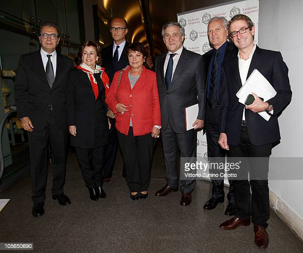 Armando Branchini Paolo Zegna Francoise Montenay Antonio Tajani Santo Versace Guy Salter attend the 'Osservatorio Altagamma 2010' meeting held at...