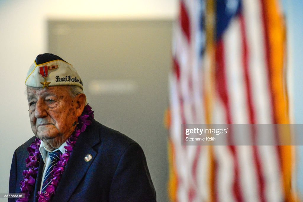 Armando 'Chick' Galella delivers remarks at a wreath-laying ceremony aboard the Intrepid Sea, Air and Space Museum the on December 7, 2017 in New York City. The 96 year old Galella was the only survivor to attend the ceremony commemorating the 76th anniversary of the attack on Pearl Harbor.