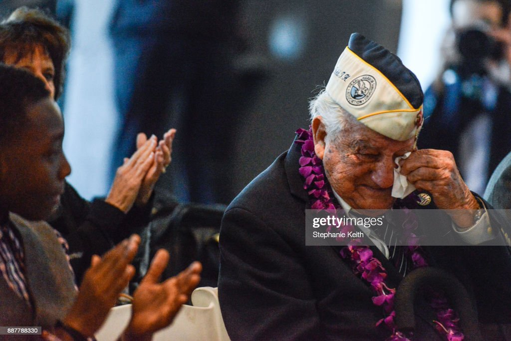 Armando 'Chick' Galella gets emotional during a wreath-laying ceremony aboard the Intrepid Sea, Air and Space Museum the on December 7, 2017 in New York City. The 96 year old Galella was the only survivor to attend the ceremony commemorating the 76th anniversary of the attack on Pearl Harbor.