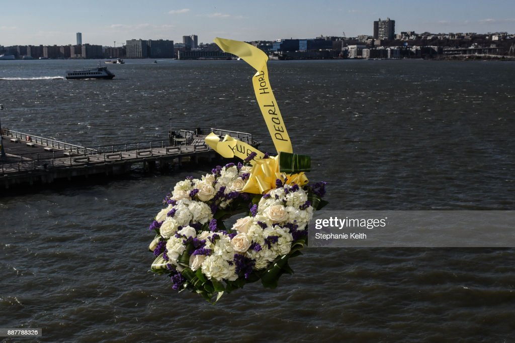 Armando 'Chick' Galella (not pictured) throws a wreath at a wreath-laying ceremony aboard the Intrepid Sea, Air and Space Museum the on December 7, 2017 in New York City. The ceremony commemorates the 76th anniversary of the attack on Pearl Harbor.