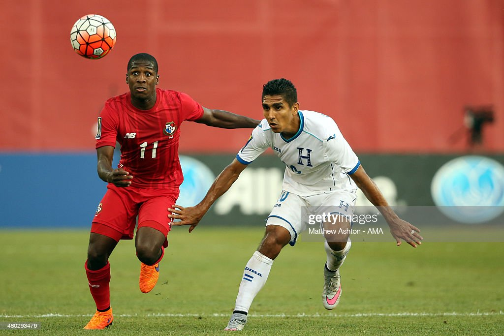Armando Cooper of Panama and Jorge Claros of Honduras go for the ball during the CONCACAF Gold Cup match between Honduras and Panama at Gillette Stadium on July 10, 2015 in Foxboro, Massachusetts.