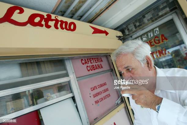 Armando Ferrell who came to America from Cuba sips his expresso May 28 2003 in Miami Ferrell represents part of the largest and fastest growing...