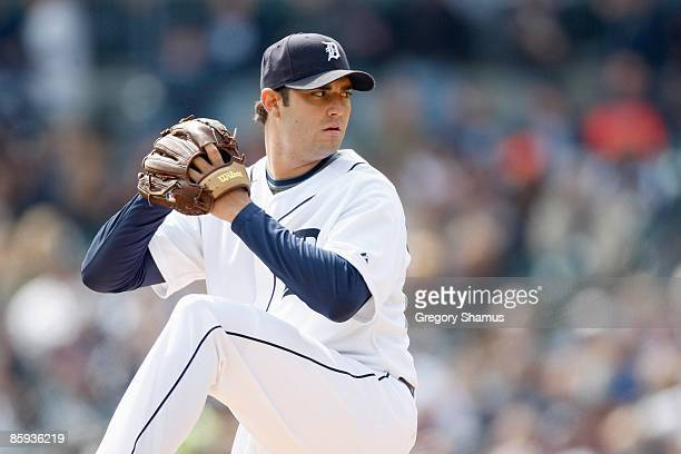 Armando Galarraga of the Detroit Tigers delivers the pitch against the Texas Rangers during Opening Day on April 10 2009 at Comerica Park in Detroit...