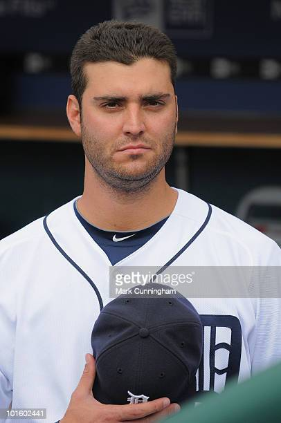 Armando Galarraga of the Detroit Tigers looks on during the National Anthem before the game against the Cleveland Indians at Comerica Park on June 3...