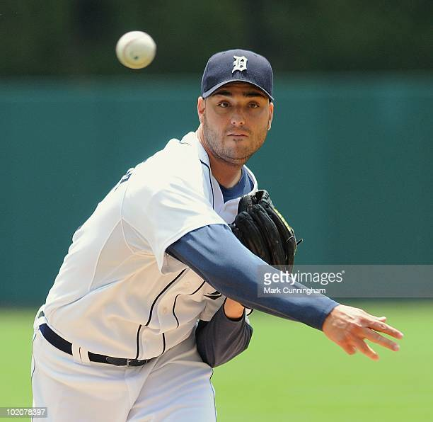 Armando Galarraga of the Detroit Tigers pitches against the Pittsburgh Pirates during the game at Comerica Park on June 13 2010 in Detroit Michigan...
