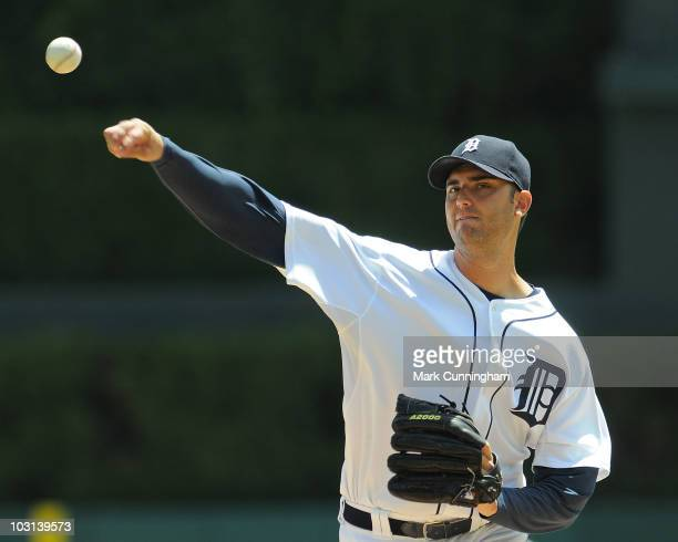 Armando Galarraga of the Detroit Tigers pitches against the Toronto Blue Jays during the game at Comerica Park on July 25 2010 in Detroit Michigan...