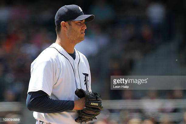 Armando Galarraga of the Detroit Tigers pitches in the fifth inning against the Toronto Blue Jays during the game on July 25 2010 at Comerica Park in...