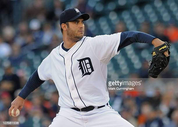 Armando Galarraga of the Detroit Tigers pitches in the first inning against the Baltimore Orioles at Comerica Park on September 10 2010 in Detroit...