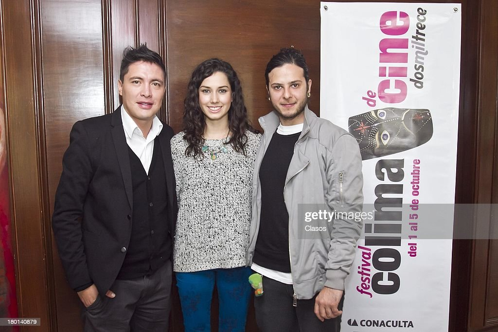 Armando Hernandez; Ximena Romo and Diego Cohen pose for a photo during a press conference to present the Colima Film Festival 2013 at Del Bosque Restauran ton Septmeber 09, 2013 in Mexico City, Mexico.