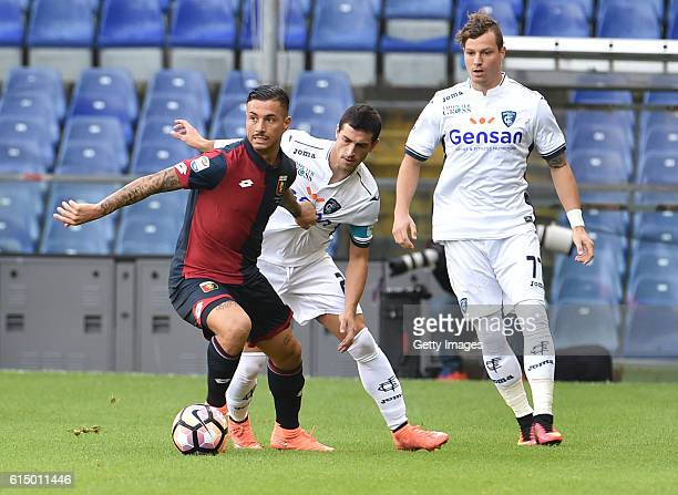 Armando Izzo of Genoa and Manuel Pucciarelli of Empoli during the Serie A match between Genoa CFC and Empoli FC at Stadio Luigi Ferraris on October...