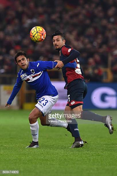 Armando Izzo of Genoa CFC competes with Citadin Martins Eder of UC Sampdoria during the Serie A match between Genoa CFC and UC Sampdoria at Stadio...