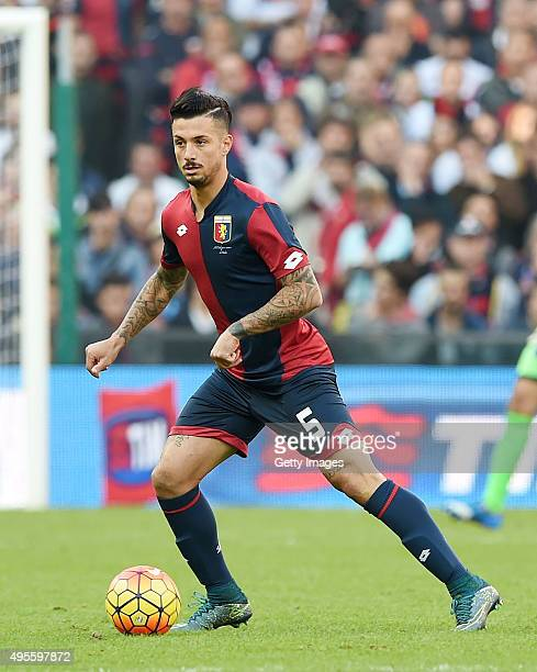 Armando Izzo of Genoa in action during the Serie A match between Genoa CFC and SSC Napoli at Stadio Luigi Ferraris on November 1 2015 in Genoa Italy
