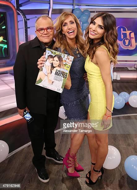 Armando Lucas Correa Lili Estefan and Alejandra Espinoza are seen on the set of 'El Gordo y La Flaca' at Univision Studios on July 1 2015 in Miami...